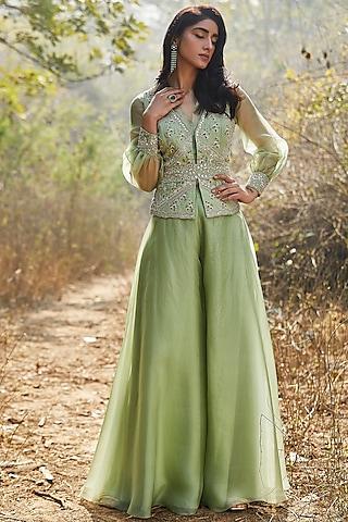 Mint Green Hand Embroidered Sharara Set With Belt by Sana Barreja
