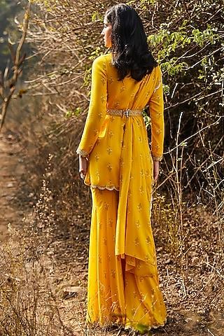 Yellow Hand Embroidered Gharara Set by Sana Barreja