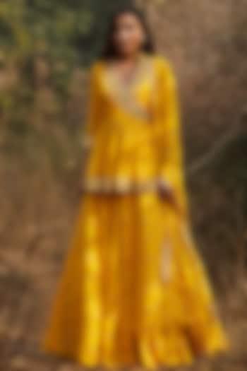 Yellow Hand Embroidered Lehenga Set by Sana Barreja