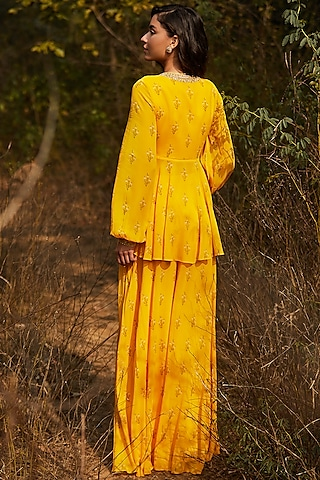 Yellow Hand Embroidered & Printed Lehenga Set by Sana Barreja
