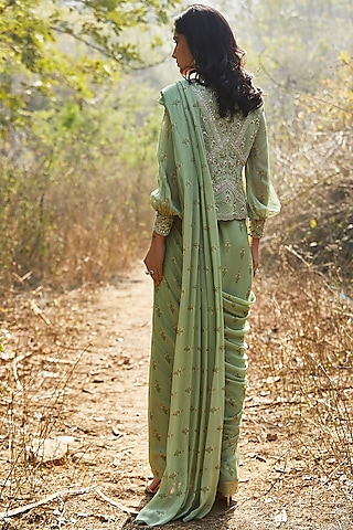 Mint Hand Embroidered Pre-Stitched Saree Set by Sana Barreja