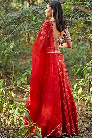 Red Hand Embroidered Lehenga Set by Sana Barreja