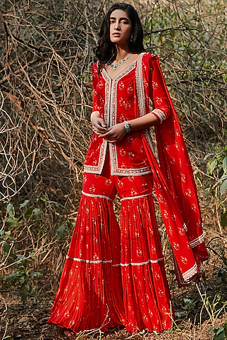 Red Hand Embroidered & Printed Gharara Set by Sana Barreja