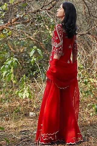 Red Hand Embroidered Gharara Set by Sana Barreja