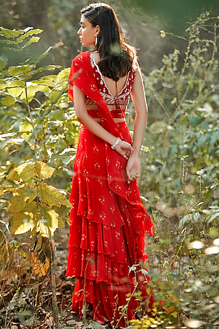 Red Hand Embroidered Pre-Stitched Saree Set by Sana Barreja