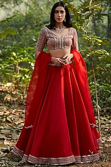 Red Lehenga Set With Hand Embroidery by Sana Barreja