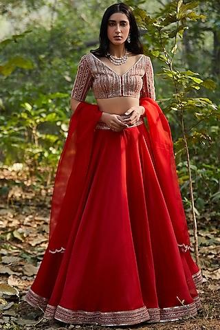 Red Lehenga Set With Hand Embroidery by Sana Barreja