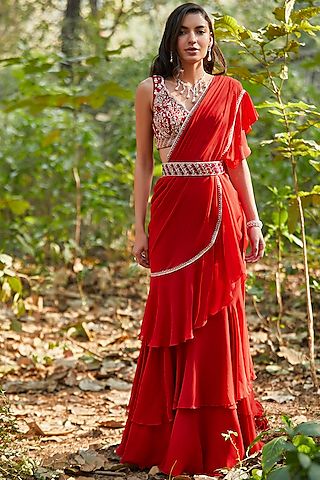 Red Hand Embroidered Pre-Stitched Layered Saree Set by Sana Barreja