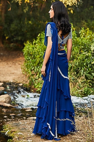 Blue Hand Embroidered Pre-Stitched Saree Set by Sana Barreja