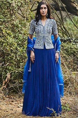 Blue Hand Embroidered Lehenga Set by Sana Barreja