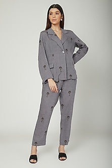 Grey Printed Blazer With Trousers by Sneha Arora