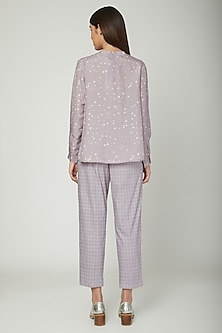 Mauve Printed Shirt With Trousers by Sneha Arora
