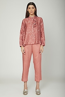Coral Printed Shirt With Checkered Trousers by Sneha Arora