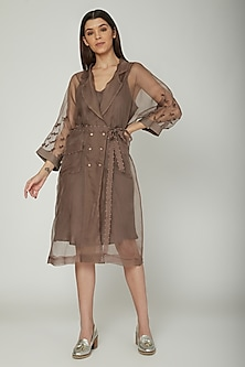 Mud Brown Embroidered Jacket With Inner & Belt by Sneha Arora