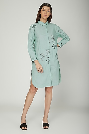 Aqua Blue Floral Printed Shirt Dress by Sneha Arora