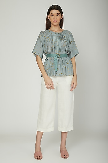 Dark Turquoise Pleated Blouse With Belt by Sneha Arora