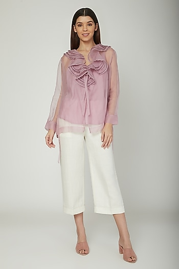 Mauve Short Jacket With Frills & Inner by Sneha Arora