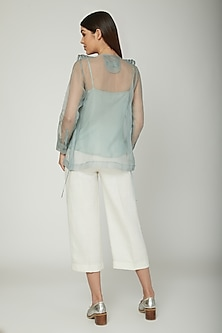 Aqua Blue Jacket With Inner by Sneha Arora