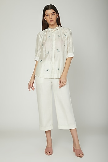 Off White Embroidered Blouse by Sneha Arora