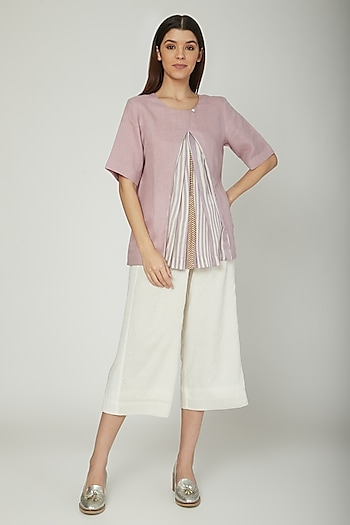 Mauve Blouse With Pleats by Sneha Arora
