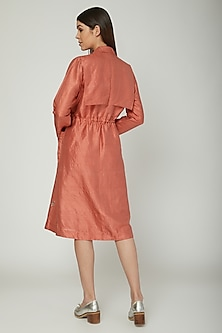 Coral Embroidered Jacket With Inner by Sneha Arora
