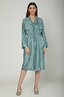 Dark Turquoise Embroidered Trench Jacket With Inner by Sneha Arora