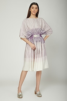 Mauve Flared Dress With Belt by Sneha Arora