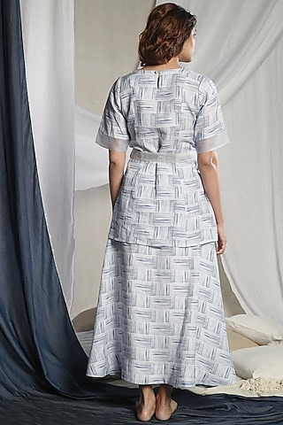 White Striped Skirt Set by Sneha Arora