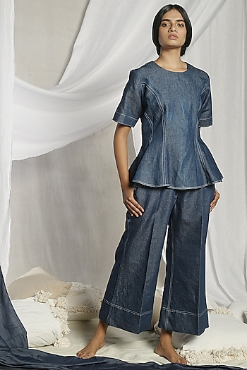 Dark Blue Pant Set by Sneha Arora