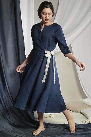 Indigo Blue Dress With Tie-Up by Sneha Arora