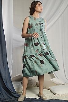 Teal Green Printed Dress by Sneha Arora-SNEHA ARORA