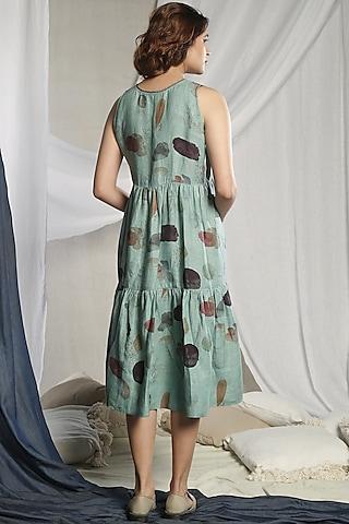 Teal Green Printed Dress by Sneha Arora