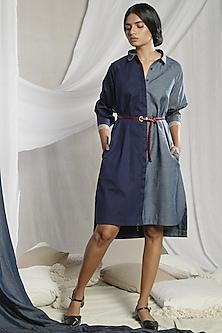 Dark Blue Shirt Dress by Sneha Arora-SNEHA ARORA