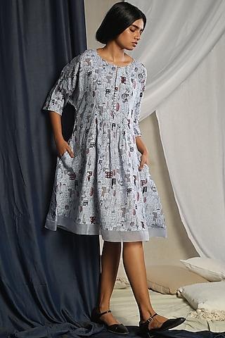 Grey Digital Printed Dress by Sneha Arora