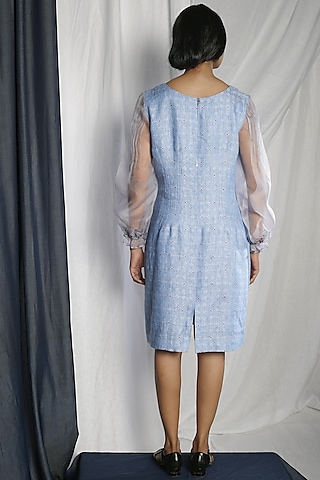 Sky Blue Embroidered Dress by Sneha Arora