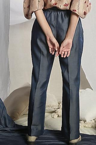 Steel Blue Pleated Pants by Sneha Arora