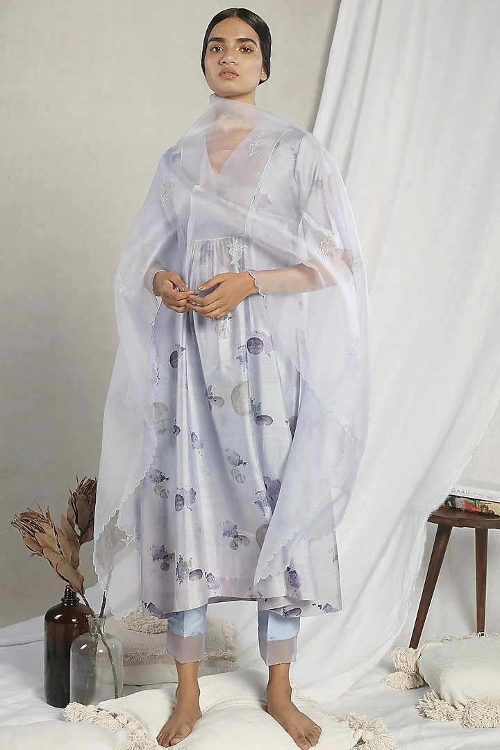 Grey Printed Kurta Set by Sneha Arora