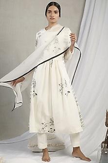 White Floral Printed Kurta Set by Sneha Arora-SNEHA ARORA
