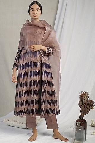 Brown Ombre Printed Kurta Set by Sneha Arora