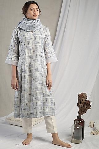 White Striped Kurta Set by Sneha Arora
