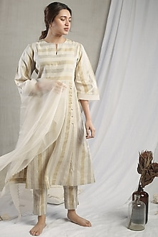 White Linen Striped Kurta Set by Sneha Arora