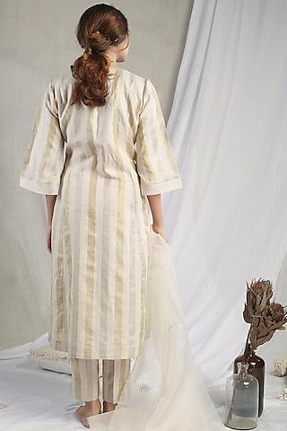 White Linen Striped Kurta Set by Sneha Arora