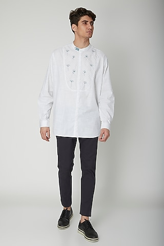 White Embroidered Cotton Shirt by Sneha Arora Men