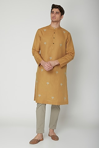 Mustard Embroidered Linen Kurta by Sneha Arora Men