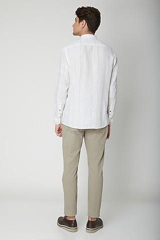 White Printed Linen Shirt by Sneha Arora Men