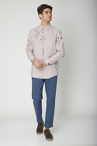 Mauve Floral Printed Shirt by Sneha Arora Men