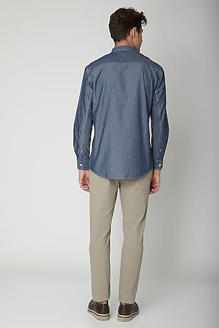 Cobalt Blue Detailed Cotton Shirt by Sneha Arora Men