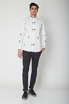 White Printed Cotton Shirt by Sneha Arora Men