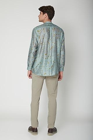 Turquoise Polka Printed Silk Shirt by Sneha Arora Men