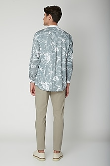 Turquoise Floral Printed Shirt by Sneha Arora Men